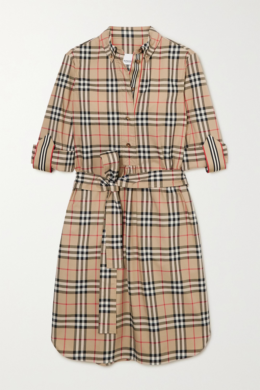 Burberry + NET SUSTAIN belted checked cotton-blend poplin mini dress