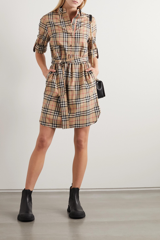 Beige Mini-robe en popeline de coton mélangé