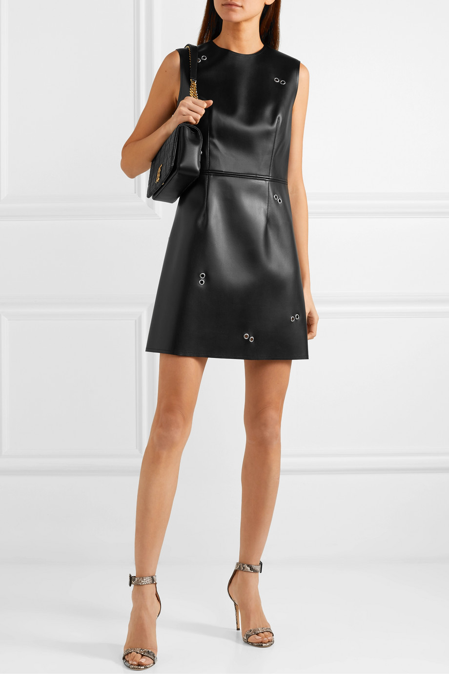 Burberry Embellished faux leather mini dress