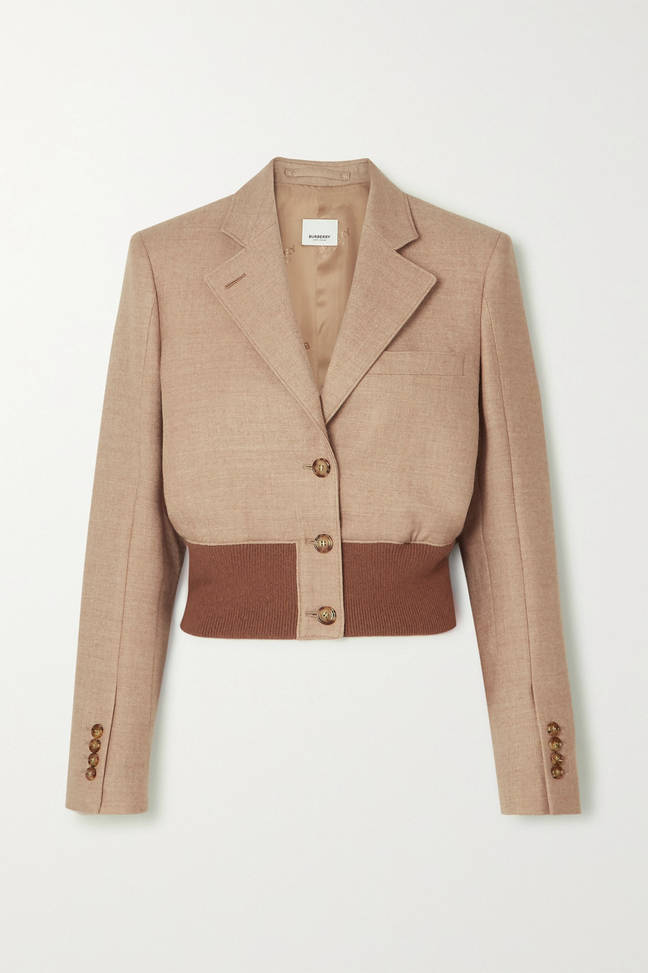Burberry Cropped wool-blend and stretch-knit blazer