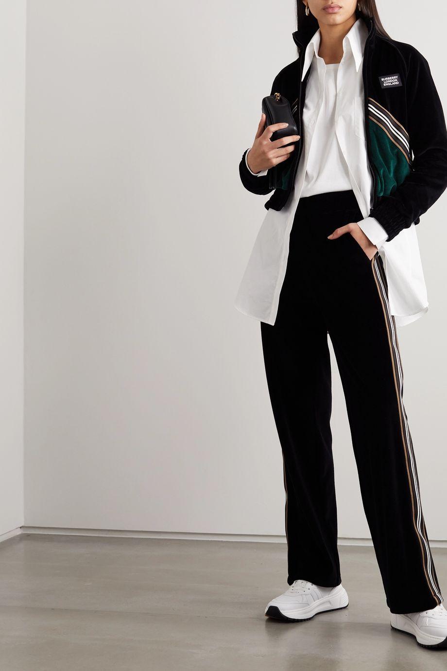 Burberry Zweifarbige Jacke aus Velours mit Streifen