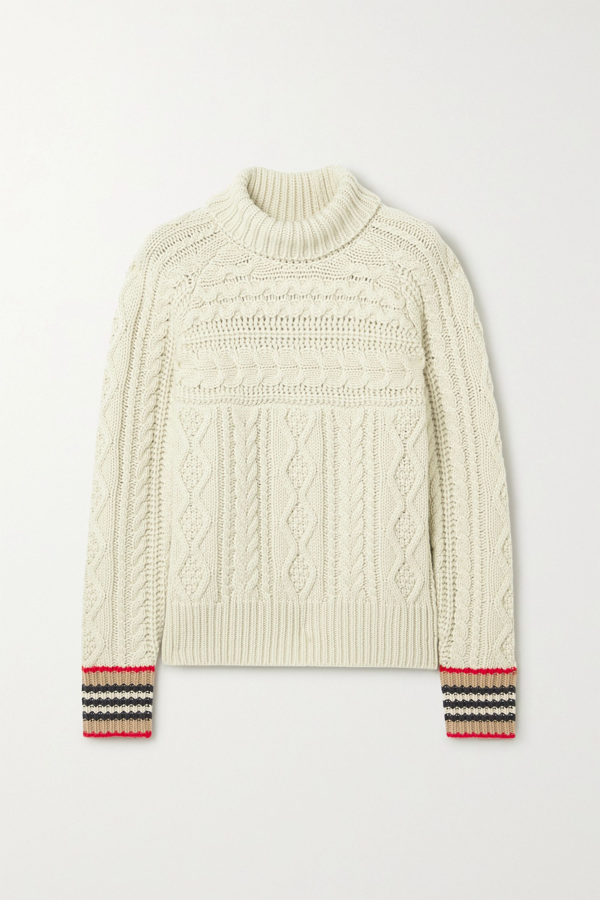 Striped cable knit cashmere turtleneck sweater