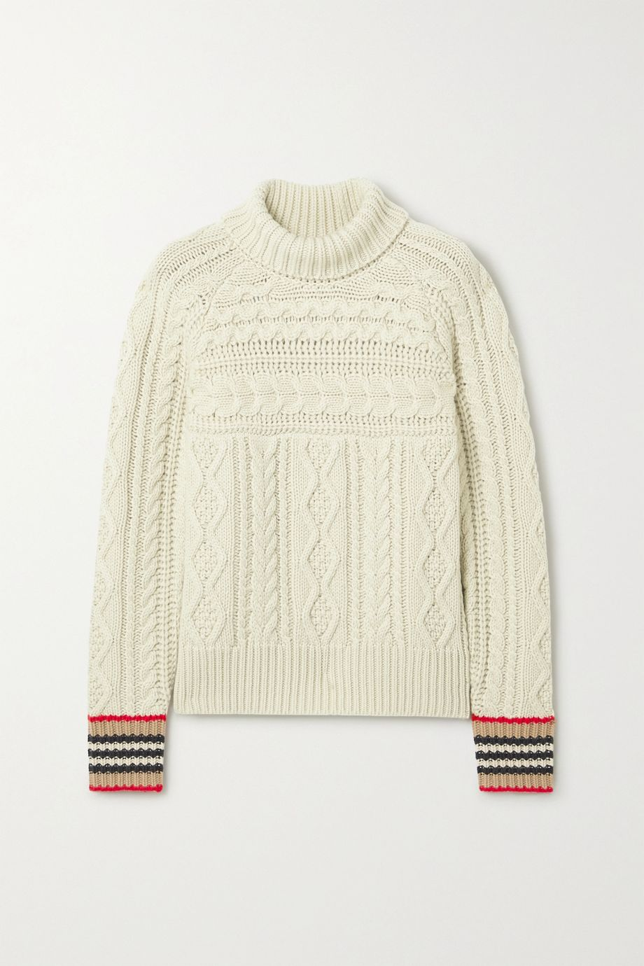 Burberry Striped cable-knit cashmere turtleneck sweater