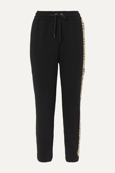 Burberry Pants Checked paneled cotton-jersey track pants