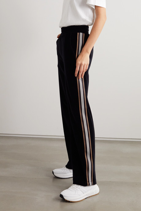 Striped cotton-velour track pants