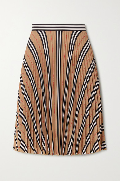 Burberry Logo And Stripe Print Crepe Pleated Skirt In Beige