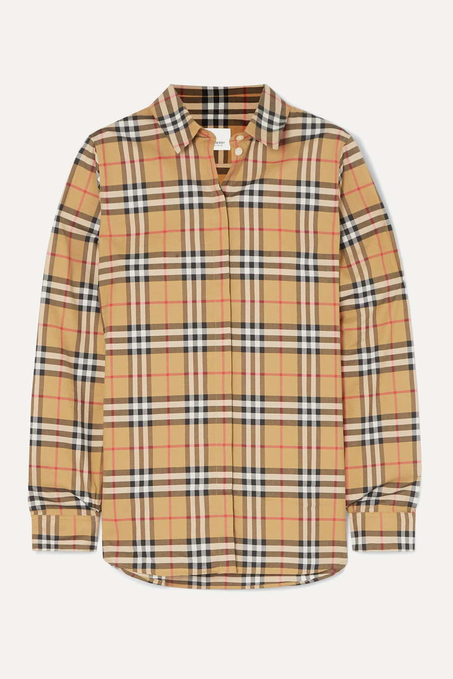 Burberry + NET SUSTAIN checked cotton-poplin shirt