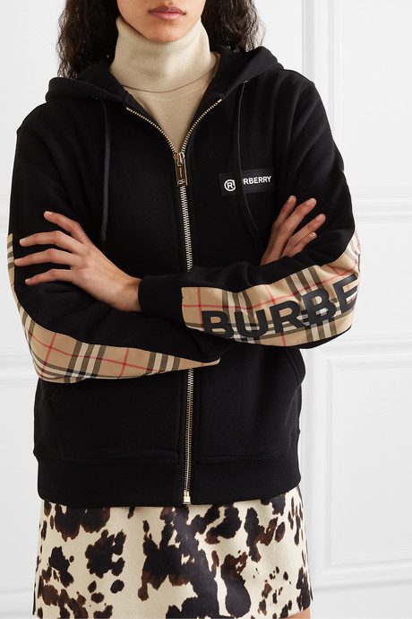 Paneled checked cotton-canvas and loopback cotton-jersey hoodie