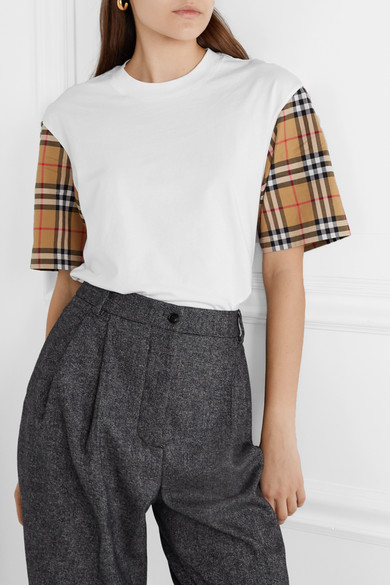 Checked Poplin Trimmed Cotton Jersey T Shirt by Burberry