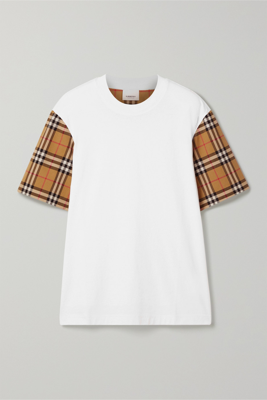 Burberry Checked poplin-trimmed cotton-jersey T-shirt