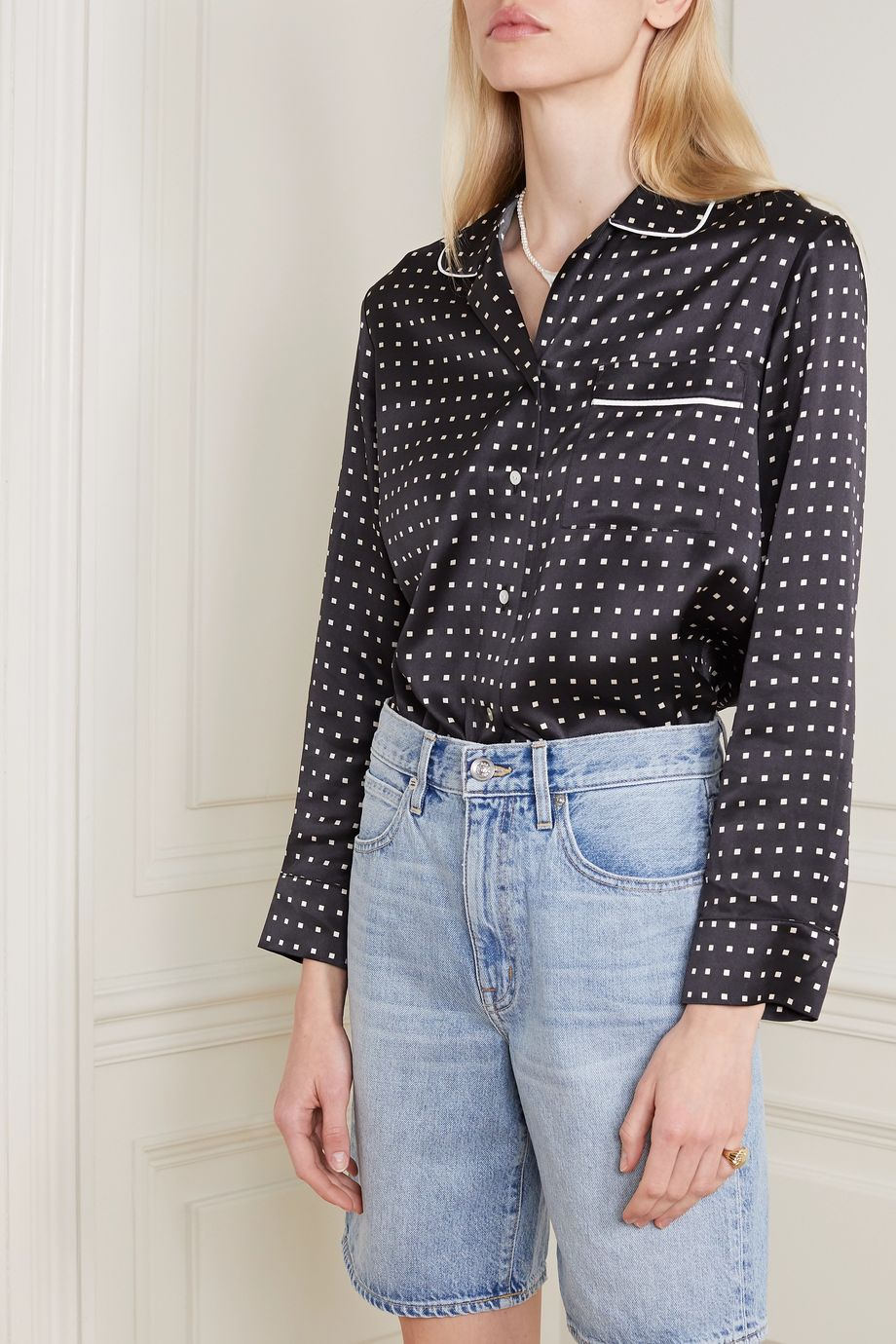 ASCENO + NET SUSTAIN Paris printed silk-satin pajama shirt