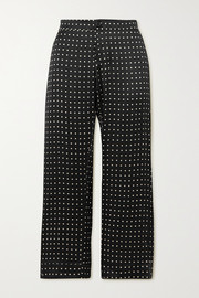 ASCENO + NET SUSTAIN Antibes cropped printed silk-satin pajama pants