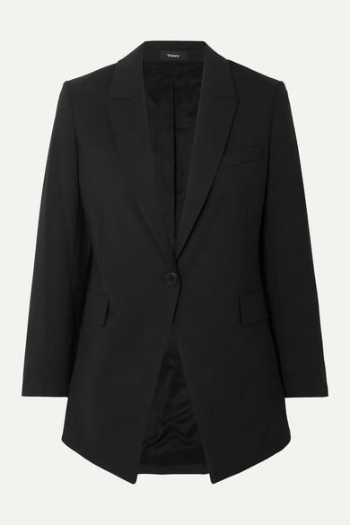 Theory Etiennette Wool-blend Grain De Poudre Blazer In Black