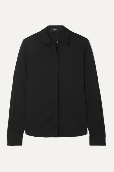 Theory Fitted Button-up Stretch-silk Shirt In Black