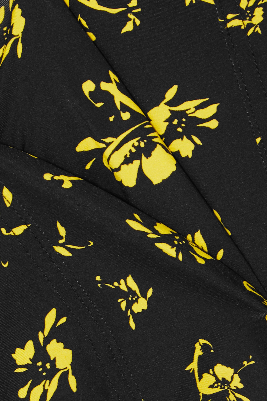 GANNI Tie-detailed floral-print swimsuit