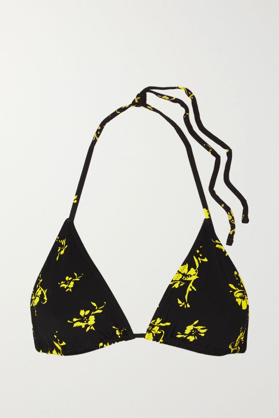 GANNI Floral-print triangle bikini top
