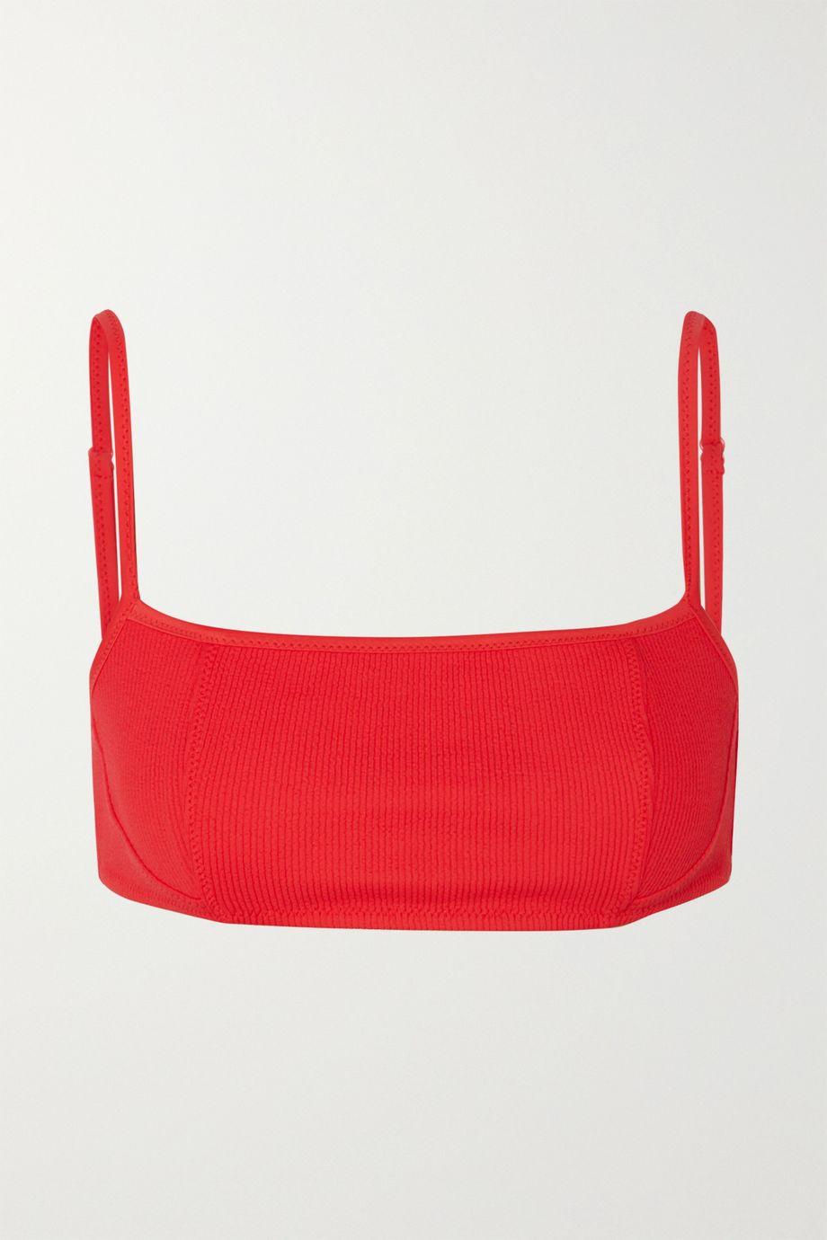GANNI Ribbed bikini top