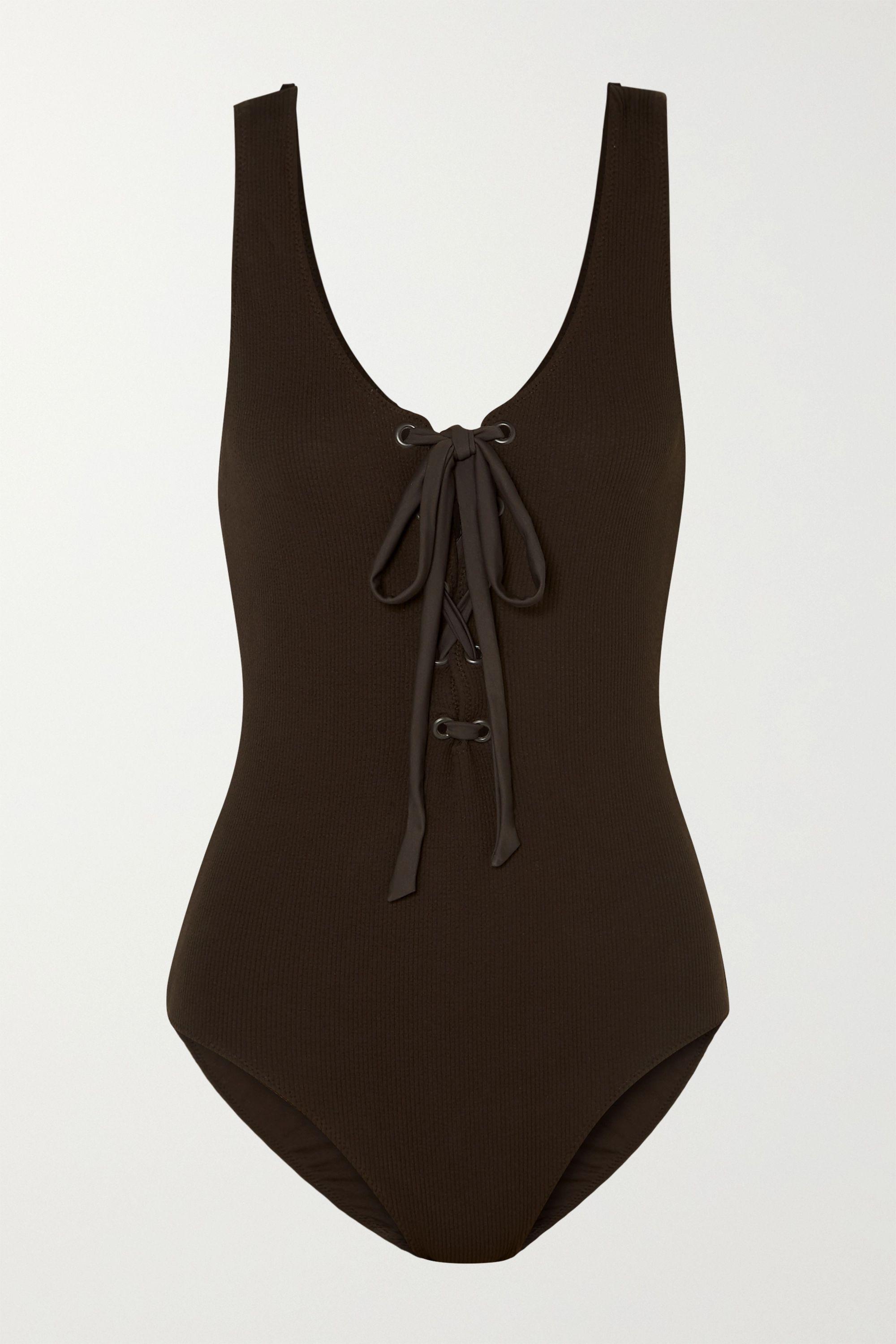 GANNI 绑带式罗纹连体泳衣