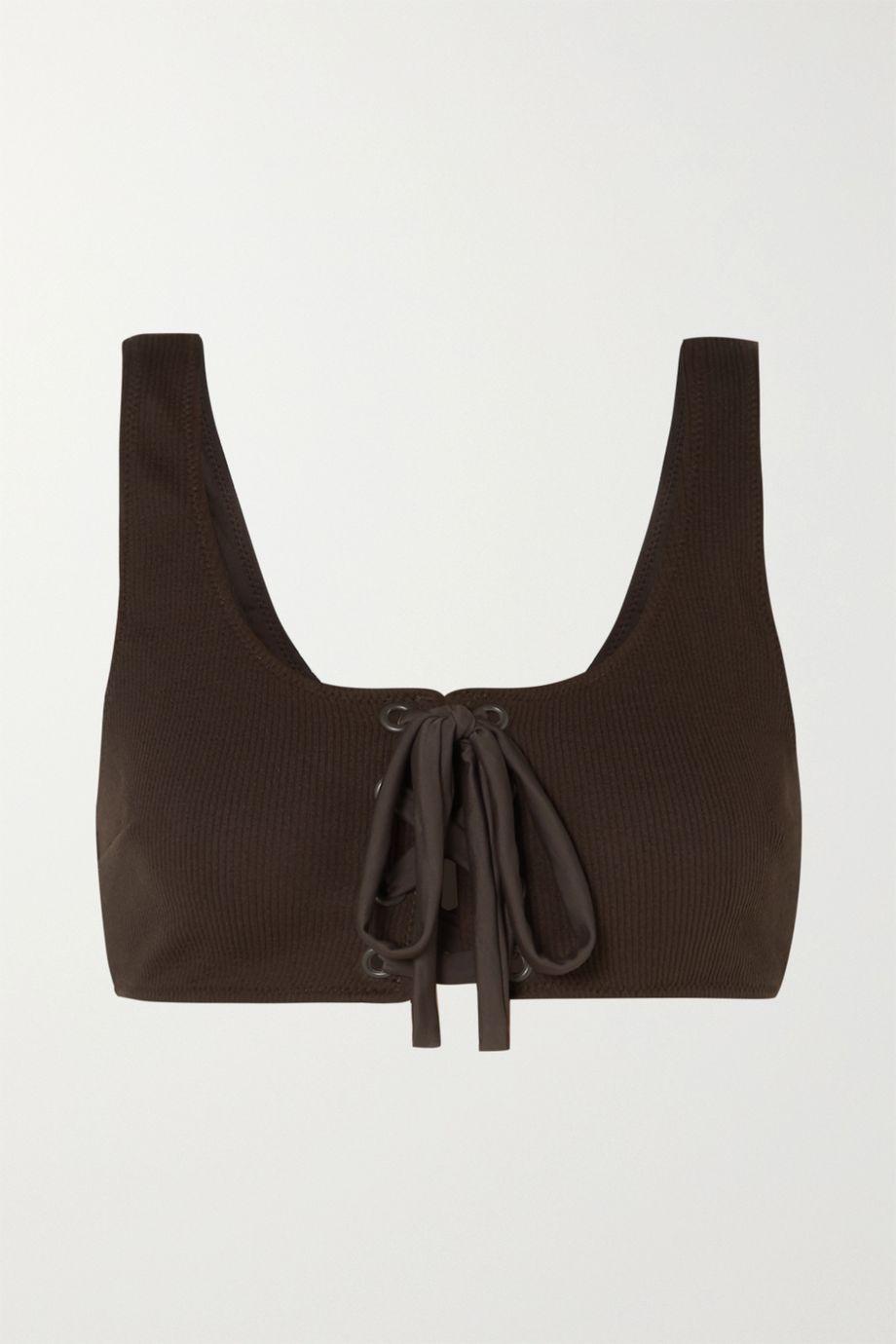 GANNI Lace-up ribbed bikini top