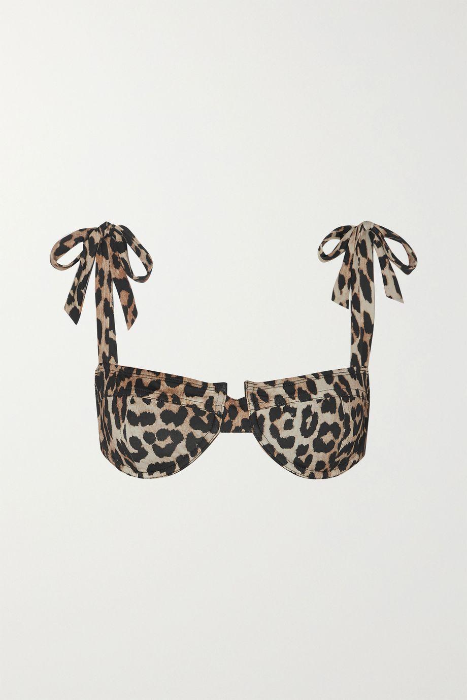 GANNI Leopard-print underwired bikini top