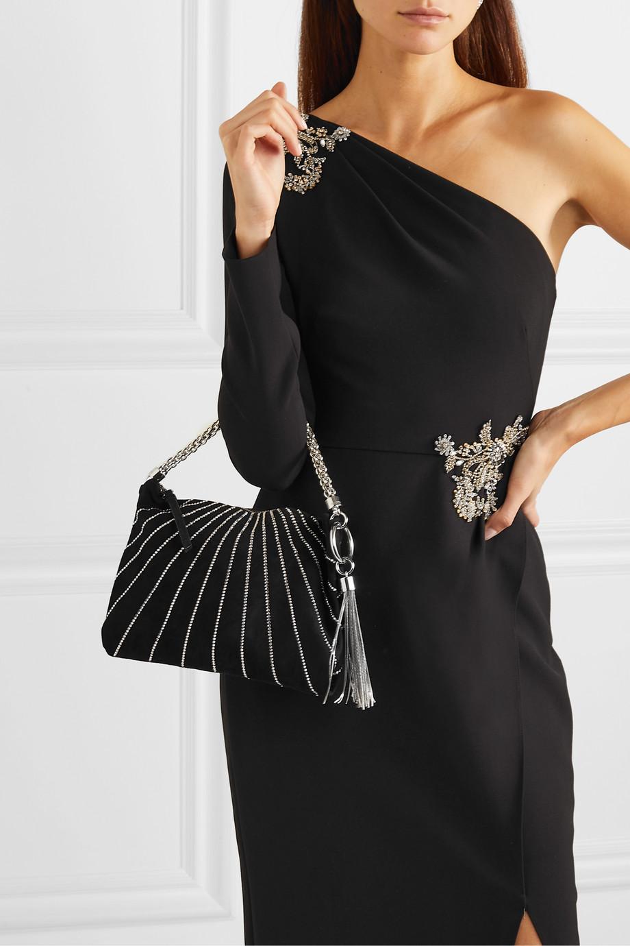 Jimmy Choo Callie crystal-embellished suede shoulder bag
