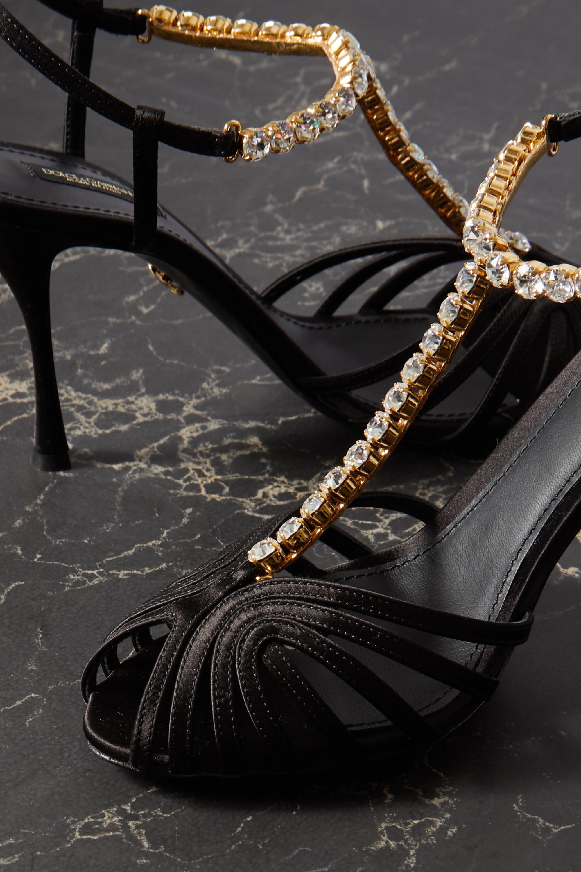 Dolce & Gabbana Sandalen aus Satin mit Kristallen
