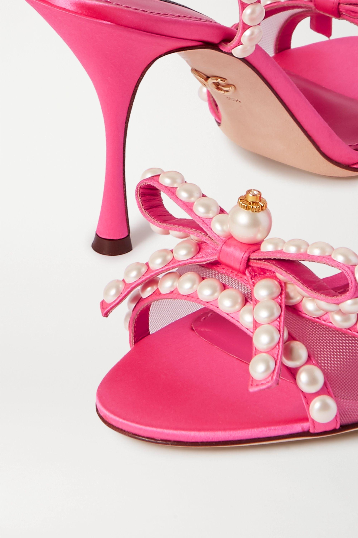 Dolce & Gabbana Faux pearl-embellished mesh-trimmed satin sandals