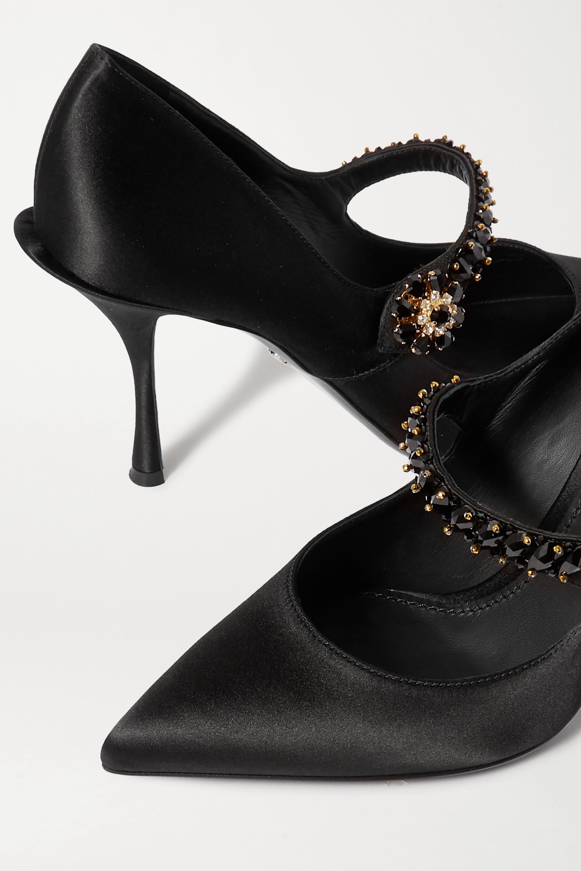 Dolce & Gabbana Crystal-embellished satin Mary Jane pumps