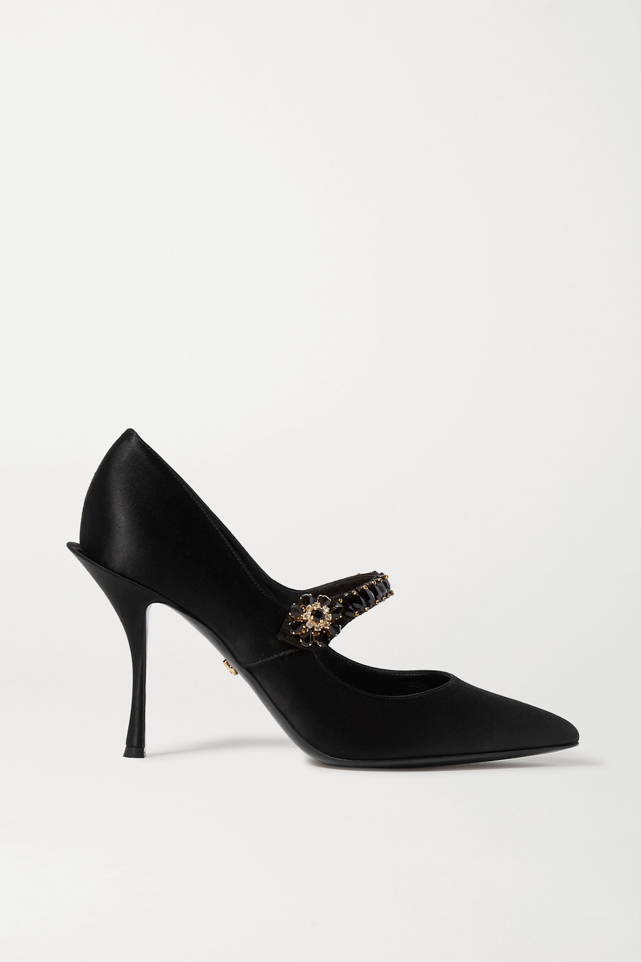 Dolce & Gabbana Mary-Jane-Pumps aus Satin mit Kristallen
