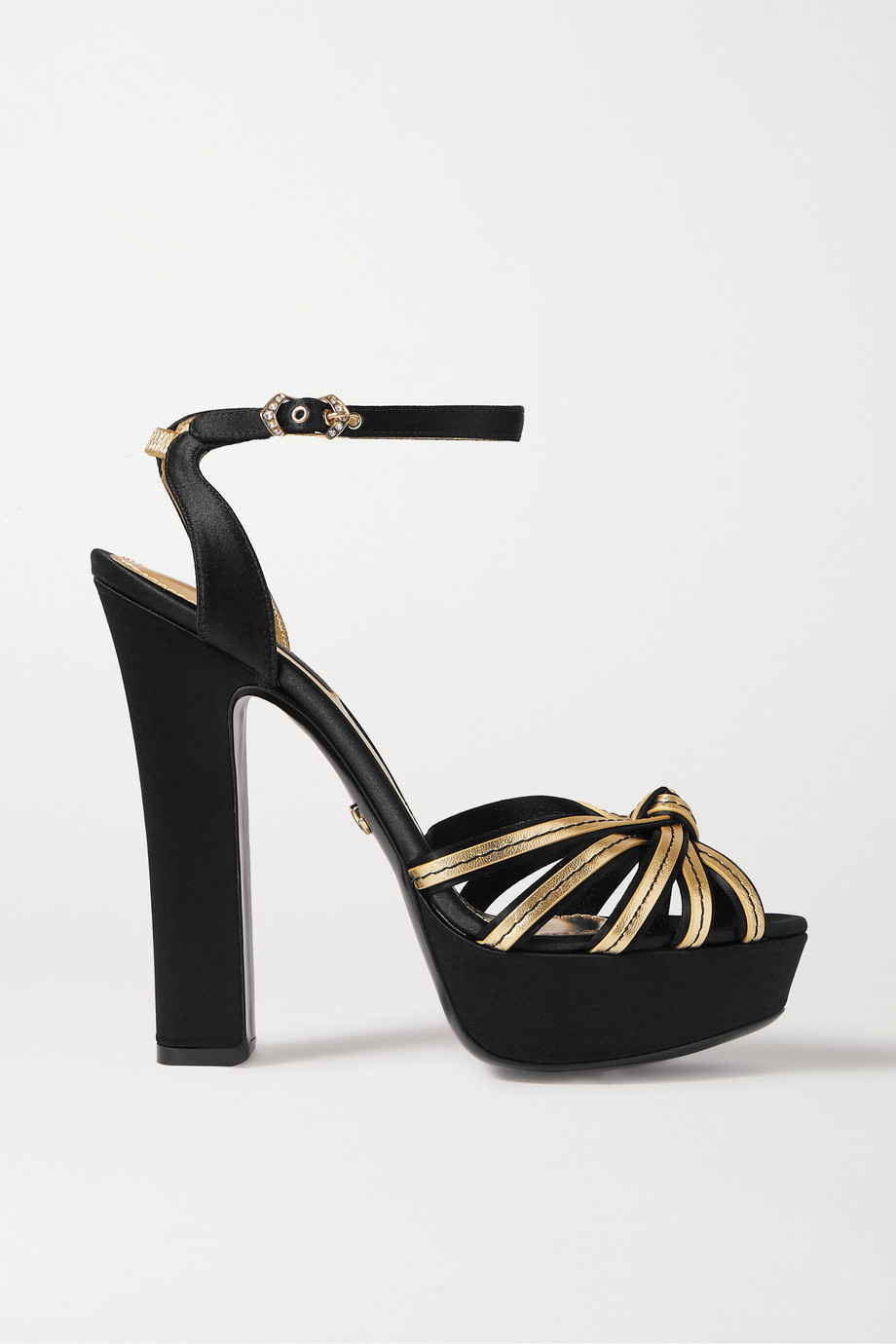 Dolce & Gabbana Knotted metallic leather and satin platform sandals