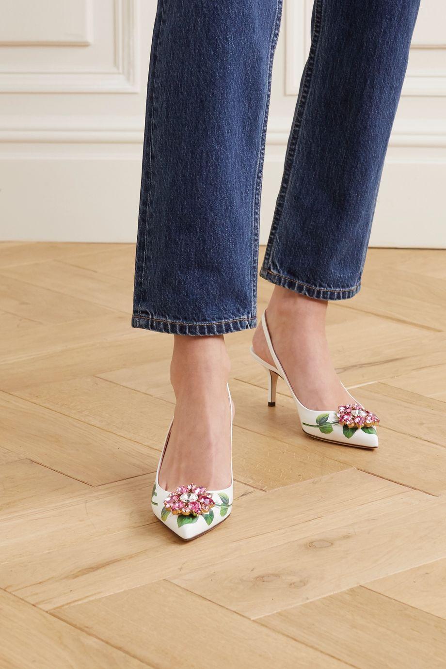 Dolce & Gabbana Crystal-embellished floral-print leather slingback pumps
