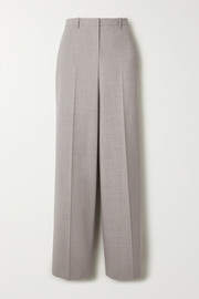 Mélange stretch-wool straight-leg pants