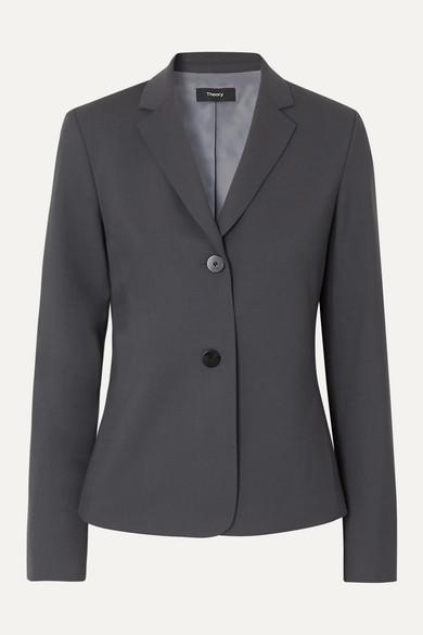 Theory Wool-blend Blazer In Navy