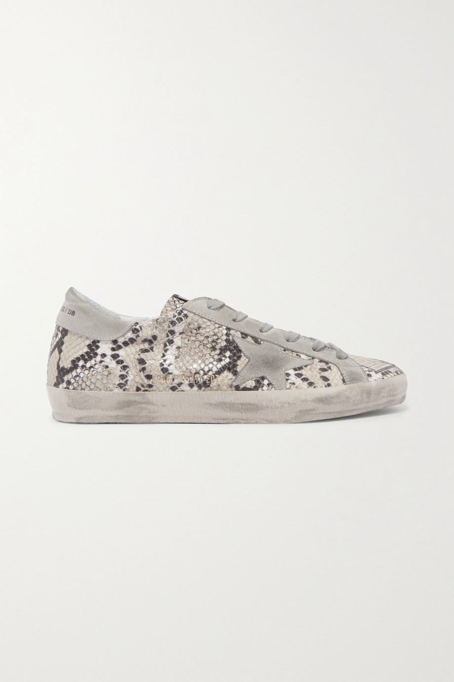 Golden Goose Superstar distressed snake-effect leather and suede sneakers