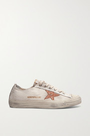 Distressed recycled canvas and leather sneakers