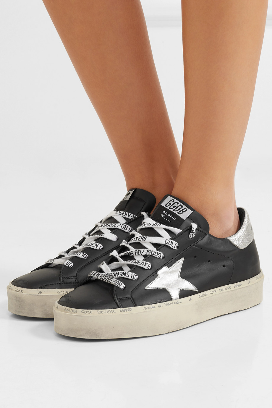 Golden Goose Hi Star distressed leather sneakers