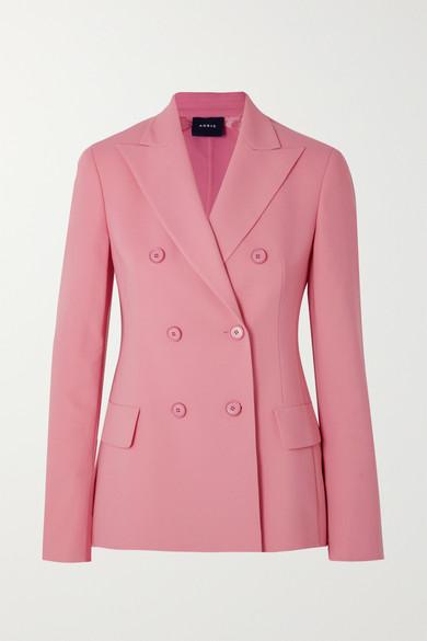 Akris Genaro Double-Breasted Wool-Blend Blazer In Dark Pink