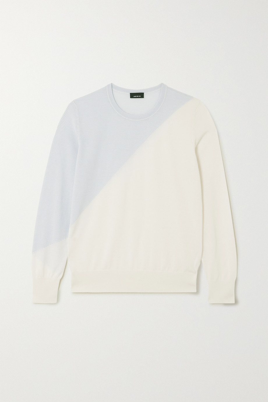 Akris Two-tone intarsia cashmere and silk-blend sweater