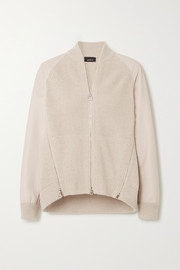 Akris Ribbed cashmere and leather cardigan