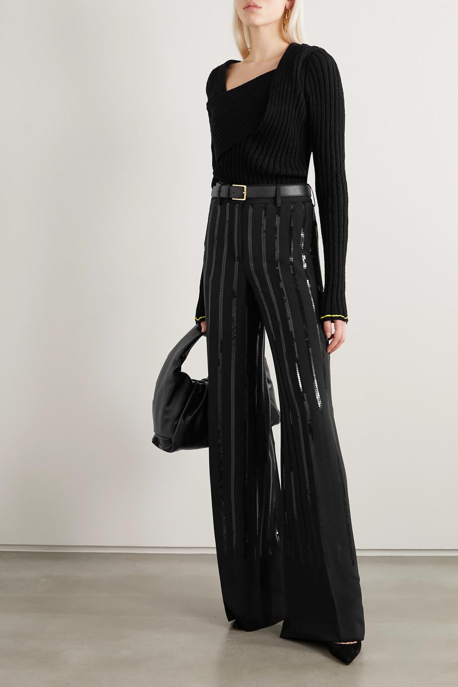Akris Floyd sequined silk-blend crepe wide-leg pants