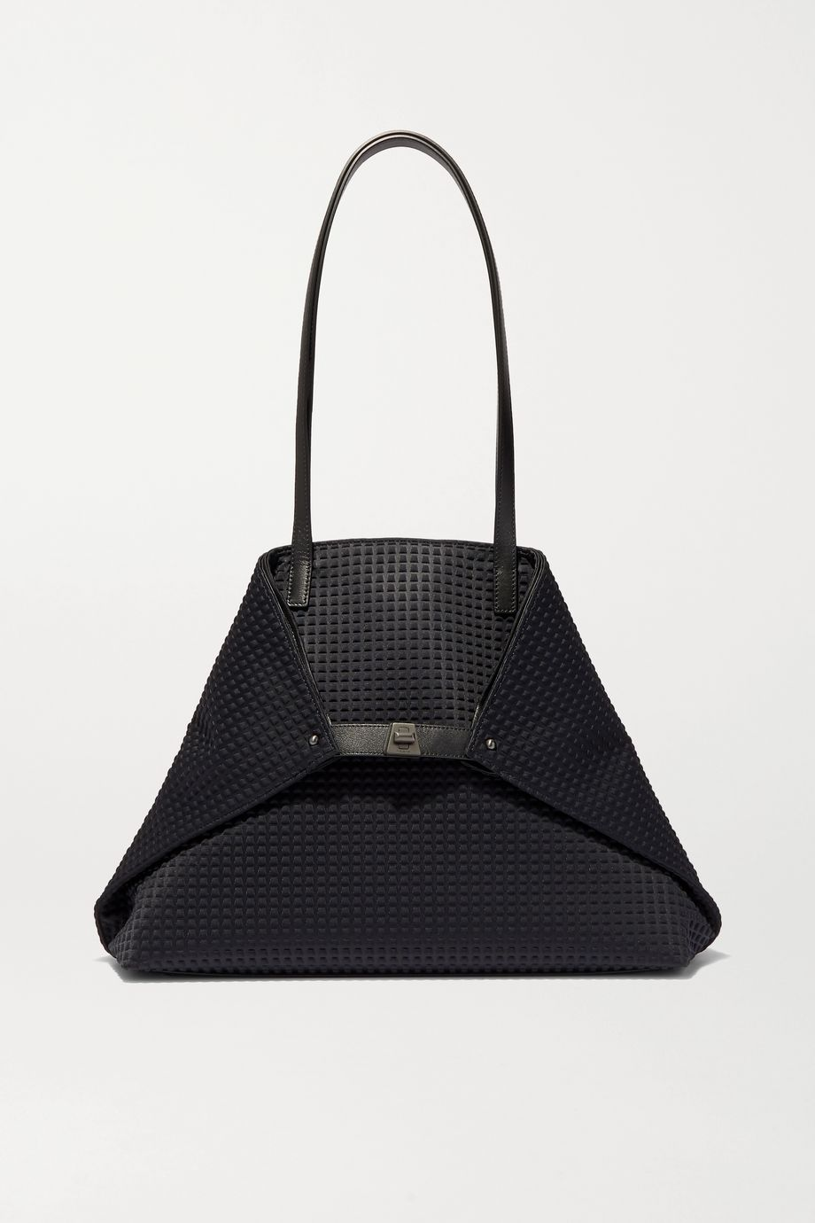 Akris Ai large leather-trimmed embossed canvas tote