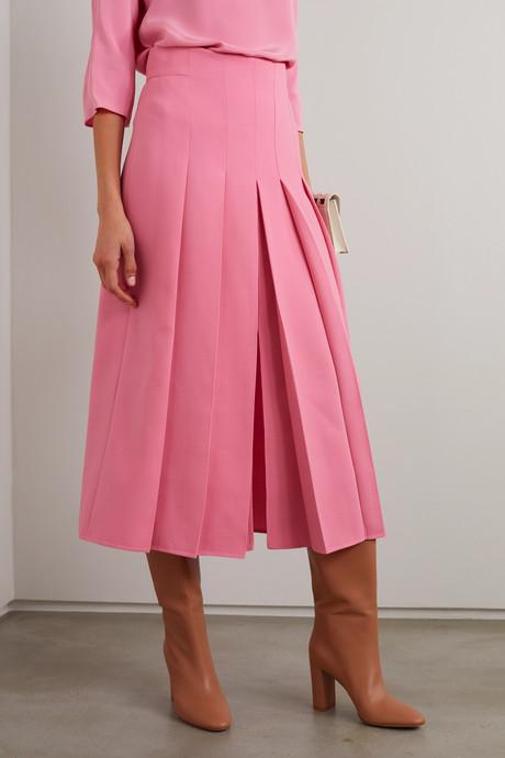 Pleated wool-blend midi skirt