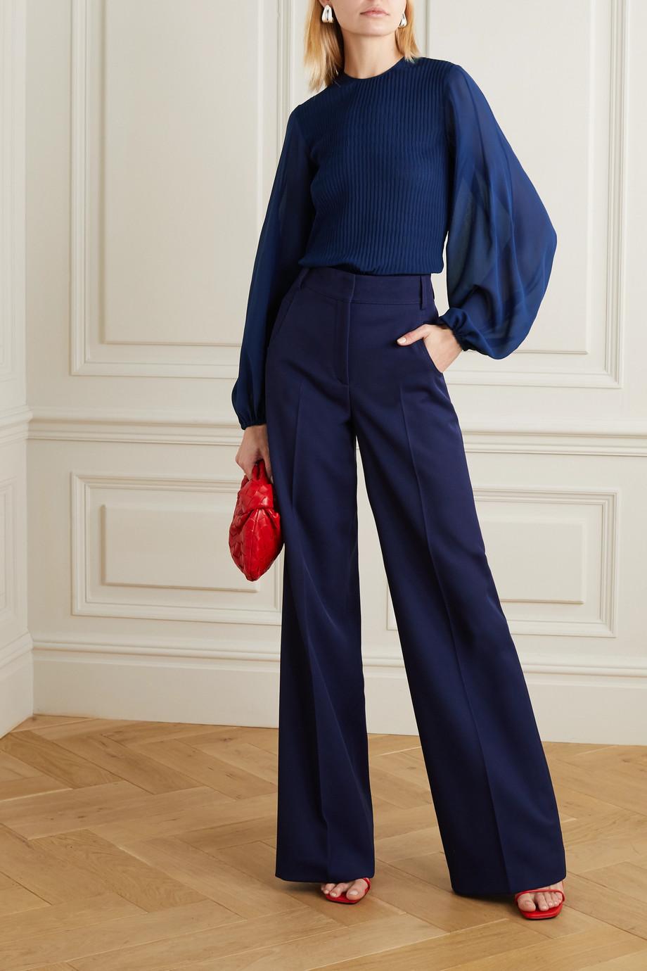 Akris Silk and plissé-crepe blouse