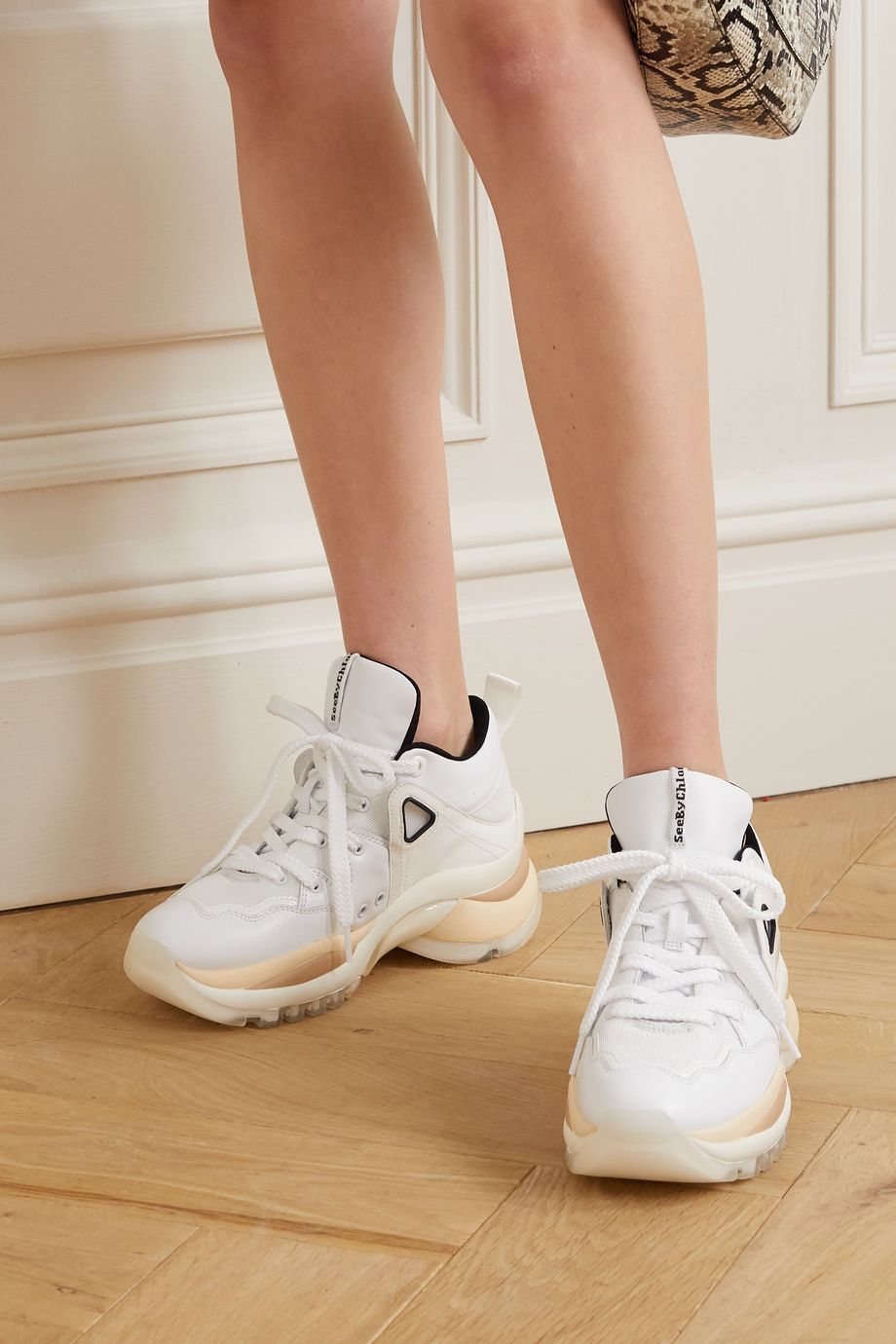 See By Chloé Mesh and leather sneakers