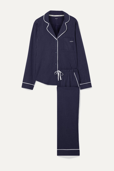 Signature Striped Cotton Blend Jersey Pajama Set by Dkny