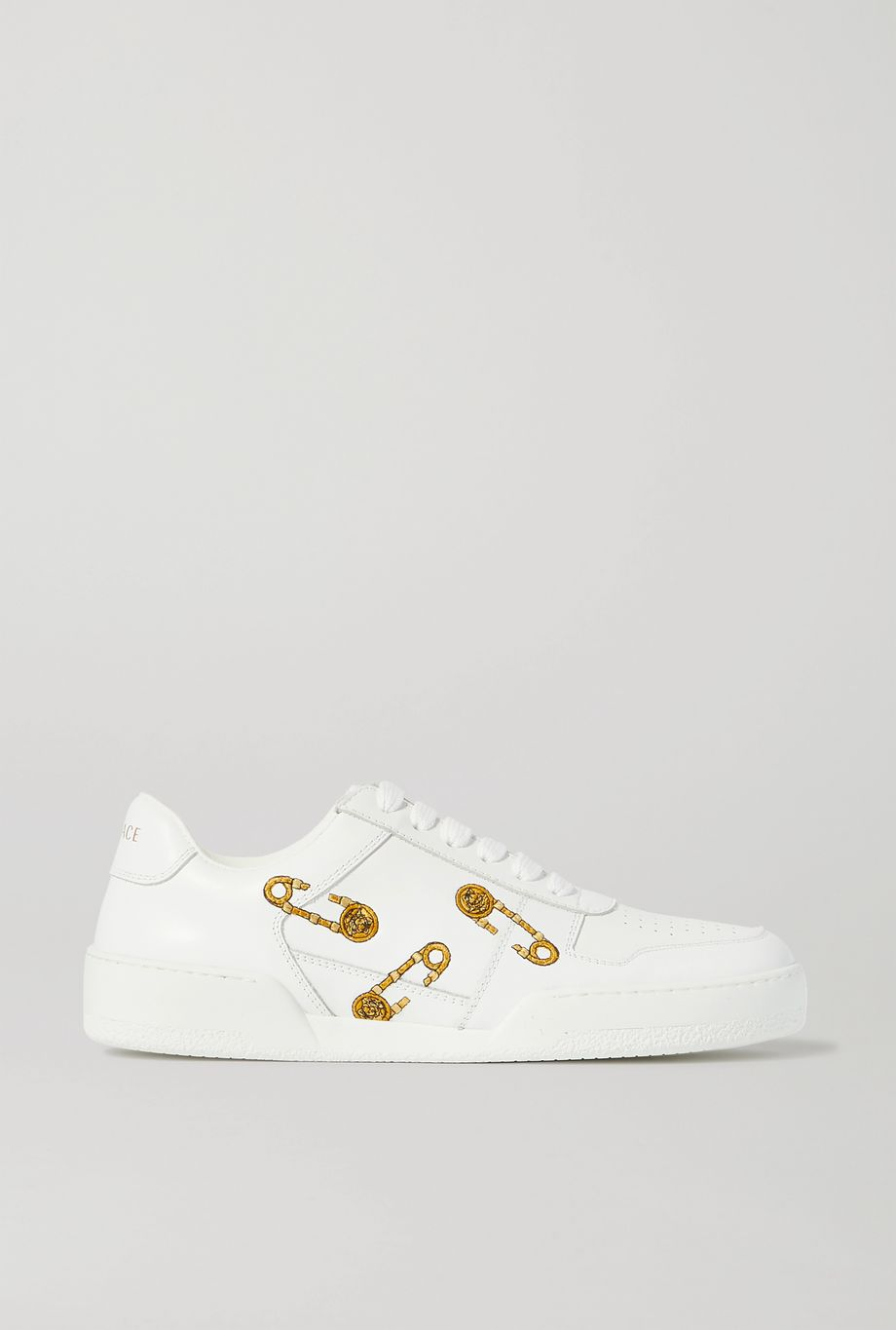 Versace Embroidered leather sneakers