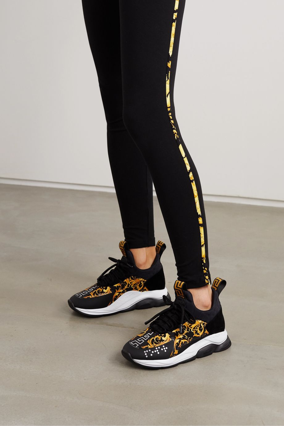 Versace Chain Reaction printed nylon, suede and neoprene sneakers
