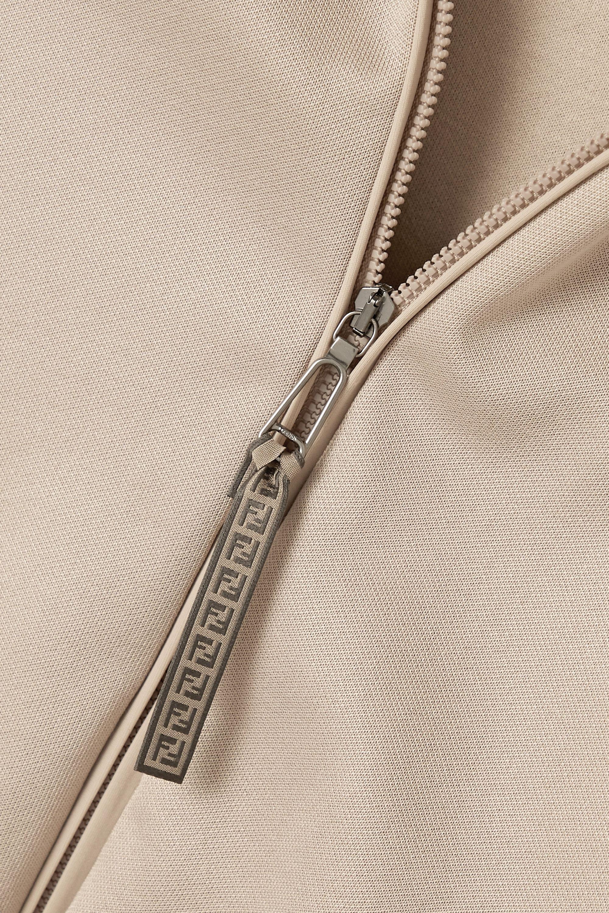 Fendi Jacquard-trimmed satin-jersey track jacket