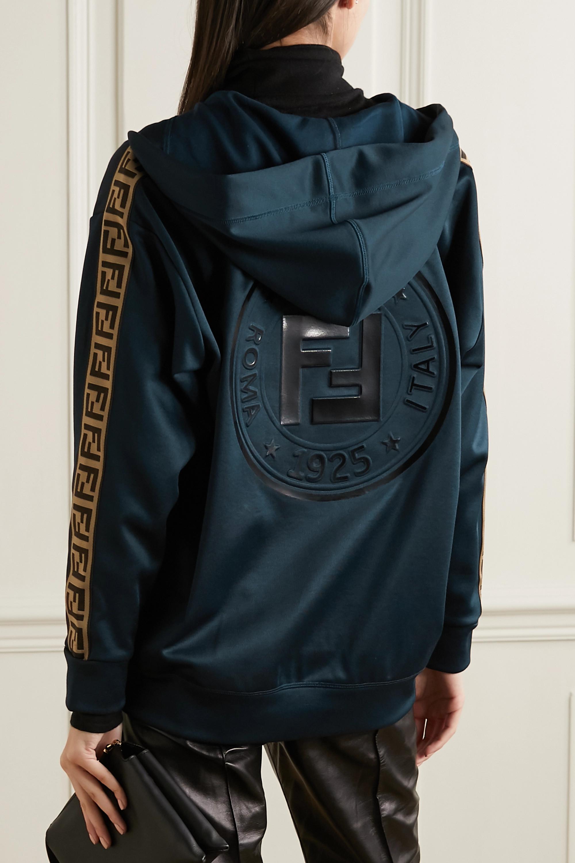 Fendi Oversized jacquard-trimmed jersey track jacket
