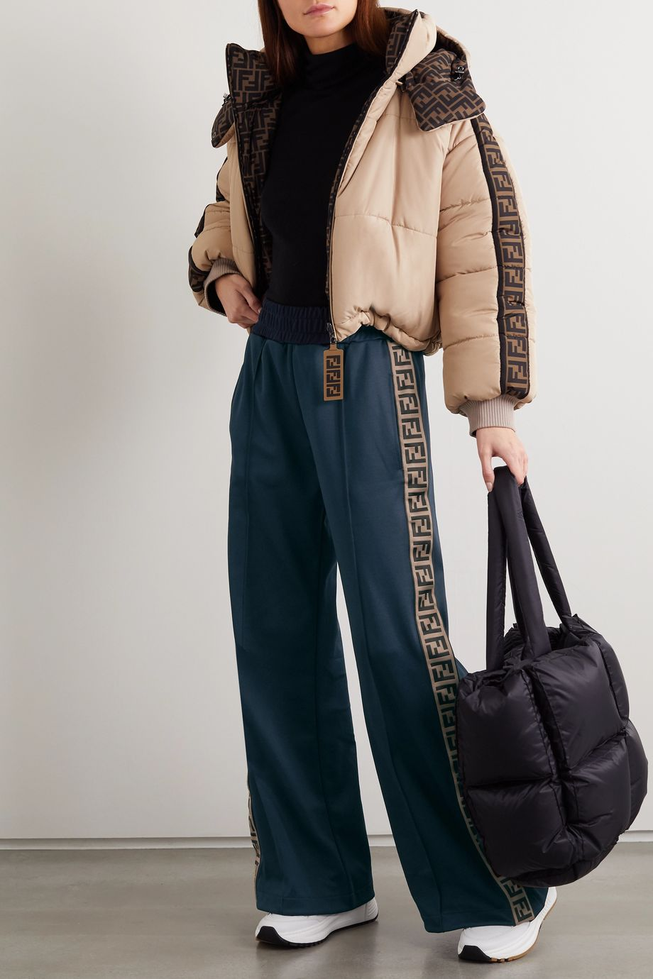 Fendi Roma striped jersey track pants